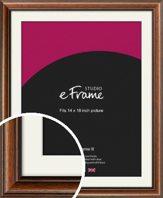 Antique Brown Picture Frame & Mount, 14x18