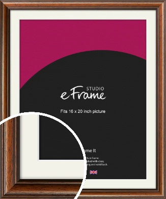 Antique Brown Picture Frame & Mount, 16x20