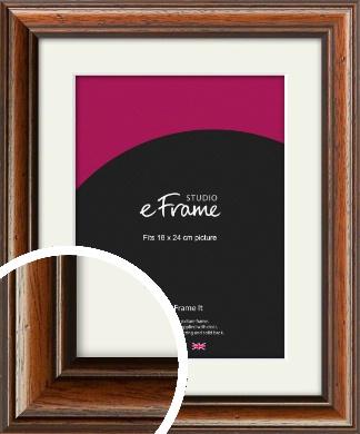 Antique Brown Picture Frame & Mount, 18x24cm (VRMP-672-M-18x24cm)