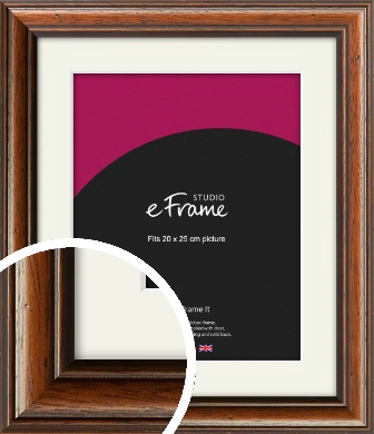 Antique Brown Picture Frame & Mount, 20x25cm (8x10