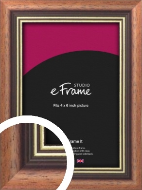 Gold Inner Edge Antique Brown Picture Frame, 4x6