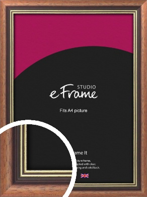 Gold Inner Edge Antique Brown Picture Frame, A4 (210x297mm) (VRMP-164-A4)