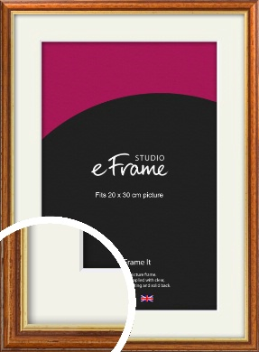 Retro Brown Picture Frame & Mount, 20x30cm (8x12