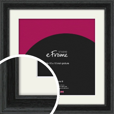 Stepped Grain Black Picture Frame & Mount, 10x10
