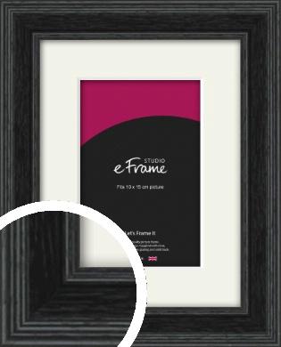 Stepped Grain Black Picture Frame & Mount, 10x15cm (4x6