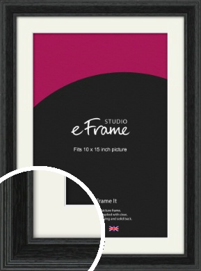 Stepped Grain Black Picture Frame & Mount, 10x15