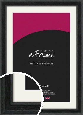 Stepped Grain Black Picture Frame & Mount, 11x17