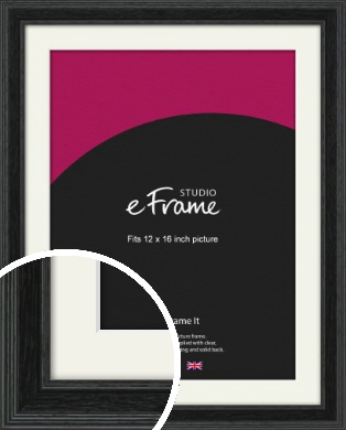 Stepped Grain Black Picture Frame & Mount, 12x16