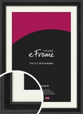 Stepped Grain Black Picture Frame & Mount, 12x18