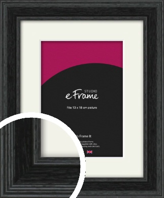 Stepped Grain Black Picture Frame & Mount, 13x18cm (5x7