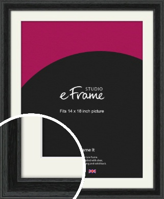 Stepped Grain Black Picture Frame & Mount, 14x18