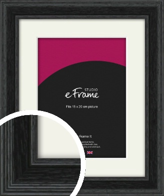 Stepped Grain Black Picture Frame & Mount, 15x20cm (6x8