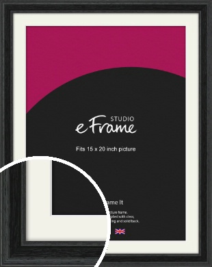 Stepped Grain Black Picture Frame & Mount, 15x20