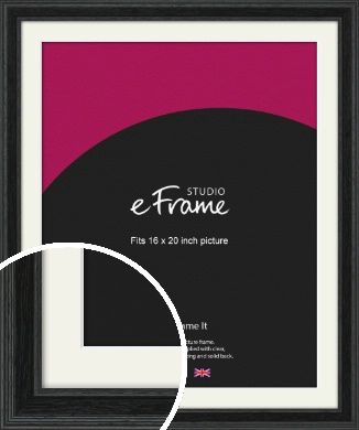 Stepped Grain Black Picture Frame & Mount, 16x20