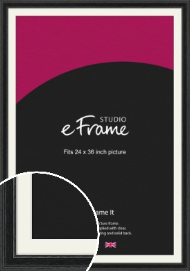 Stepped Grain Black Picture Frame & Mount, 24x36