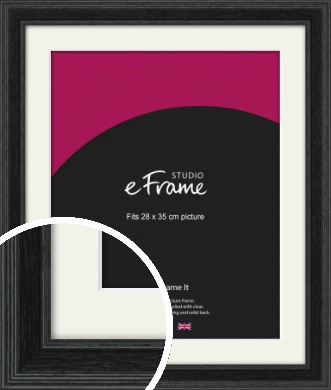 Stepped Grain Black Picture Frame & Mount, 28x35cm (VRMP-1257-M-28x35cm)