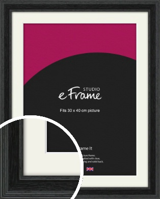 Stepped Grain Black Picture Frame & Mount, 30x40cm (VRMP-1257-M-30x40cm)