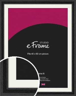 Stepped Grain Black Picture Frame & Mount, 45x60cm (VRMP-1257-M-45x60cm)