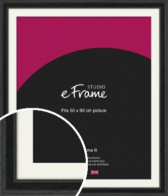 Stepped Grain Black Picture Frame & Mount, 50x60cm (VRMP-1257-M-50x60cm)