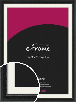 Stepped Grain Black Picture Frame & Mount, 50x70cm (VRMP-1257-M-50x70cm)