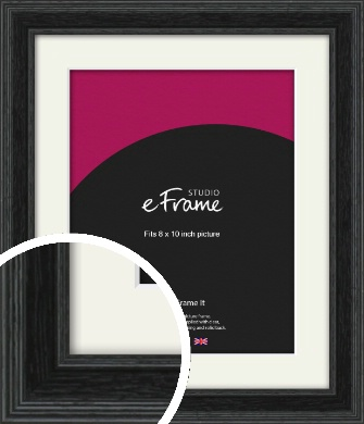 Stepped Grain Black Picture Frame & Mount, 8x10