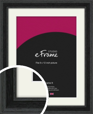 Stepped Grain Black Picture Frame & Mount, 9x12