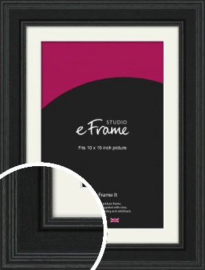 Steppped Black Picture Frame & Mount, 10x15