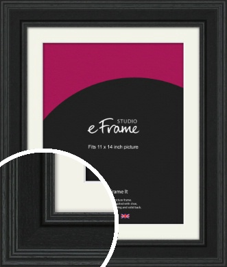 Steppped Black Picture Frame & Mount, 11x14