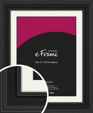 Steppped Black Picture Frame & Mount, 12x16