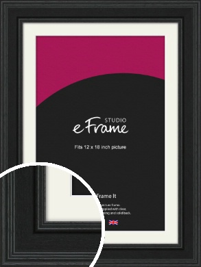 Steppped Black Picture Frame & Mount, 12x18