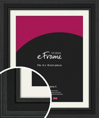 Steppped Black Picture Frame & Mount, 14x18