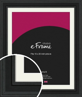 Steppped Black Picture Frame & Mount, 16x20