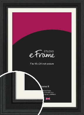 Steppped Black Picture Frame & Mount, 16x24