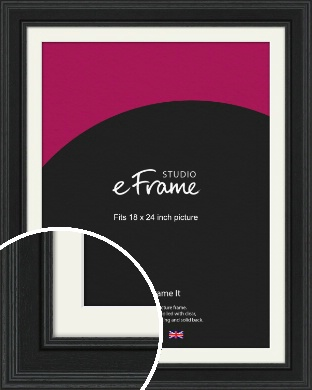 Steppped Black Picture Frame & Mount, 18x24