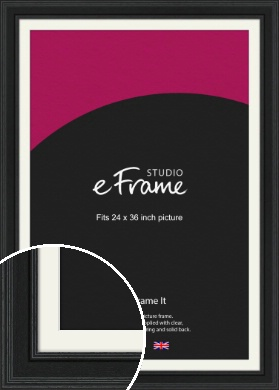 Steppped Black Picture Frame & Mount, 24x36