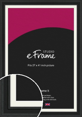Steppped Black Picture Frame & Mount, 27x41