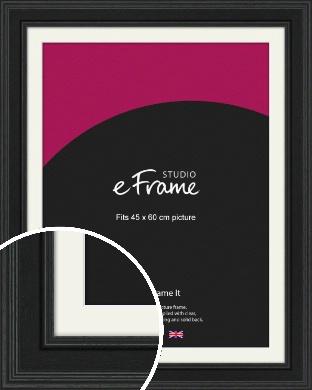 Steppped Black Picture Frame & Mount, 45x60cm (VRMP-1263-M-45x60cm)