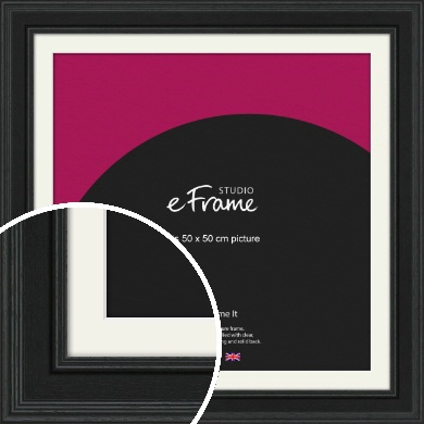 Steppped Black Picture Frame & Mount, 50x50cm (VRMP-1263-M-50x50cm)