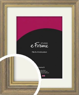 Distressed Brown Picture Frame & Mount, 6x8