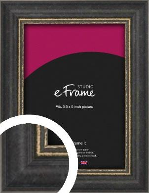 Retro Distressed Black Picture Frame, 3.5x5