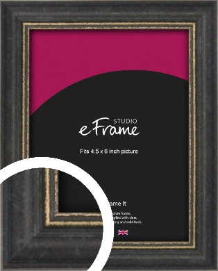 Retro Distressed Black Picture Frame, 4.5x6