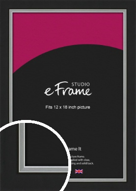 Flat Silver Inner Edged Black Picture Frame, 12x18