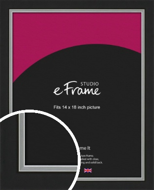 Flat Silver Inner Edged Black Picture Frame, 14x18
