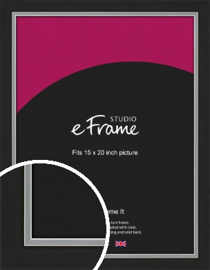 Flat Silver Inner Edged Black Picture Frame, 15x20