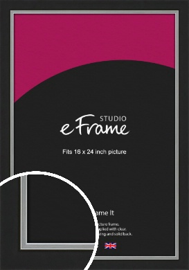 Flat Silver Inner Edged Black Picture Frame, 16x24