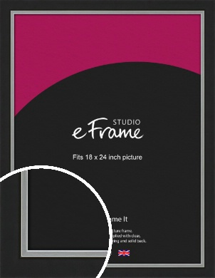 Flat Silver Inner Edged Black Picture Frame, 18x24