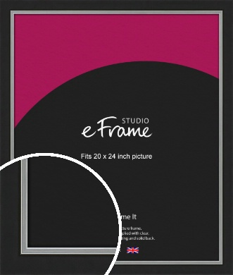Flat Silver Inner Edged Black Picture Frame, 20x24
