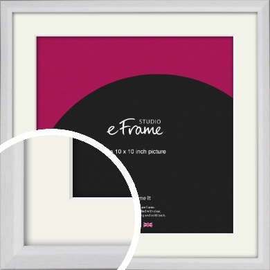 Narrow Bevelled Fresh White Picture Frame & Mount, 10x10