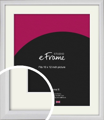Narrow Bevelled Fresh White Picture Frame & Mount, 10x12