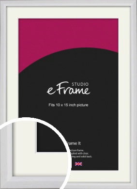 Narrow Bevelled Fresh White Picture Frame & Mount, 10x15